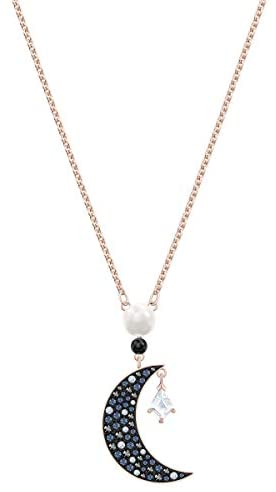 Swarovski Women's Symbolic Pendant Moon Necklace, Finely Cut Stones, Rose-gold Tone Plated Chain, from the Swarovski Symbolic Collection