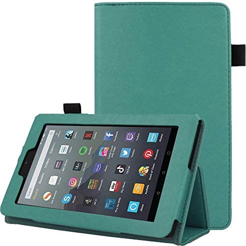 "TECHGEAR Case Designed For All New Amazon Fire 7"" (9th Generation / 2019 Release) PU Leather Slim Folio Stand Case Cover with Hand Strap [Sage] with Auto Wake/Sleep"