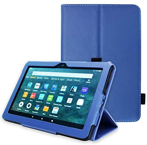 "TECHGEAR Smart Case Designed For All New Amazon Fire HD 8"" / HD 8"" Plus (2020 / 10th Generation) Slim PU Leather Folio Smart Stand Case Cover with Hand Strap with Auto Wake/Sleep [Blue]"