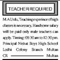 Teaching Staff Jobs in Nishat Boys High School