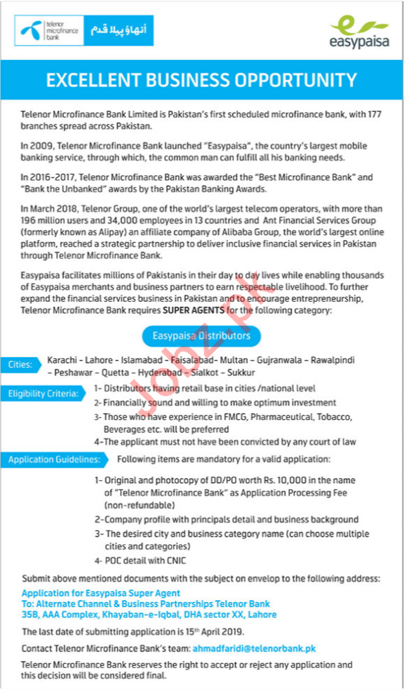 Telenor Distributor Jobs 2019