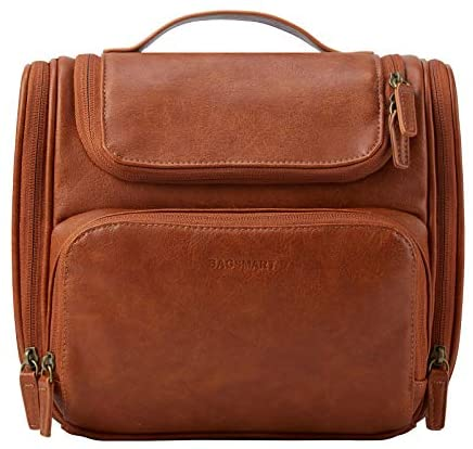 Toiletry Bag, BAGSMART Hanging Leather Toiletry Kit Large Women Mens Travel Organizer Water-Resistant for Full Sized Container, Toiletries, Brushes Shaving (Brown)