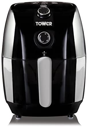 Tower Air Fryer with Rapid Air Circulation System, VORTX Frying Technology, 30 Minute Timer and Adjustable Temperature Control for Healthy Oil Free or Low Fat Cooking, 900 W, 1.5 Litre, Black