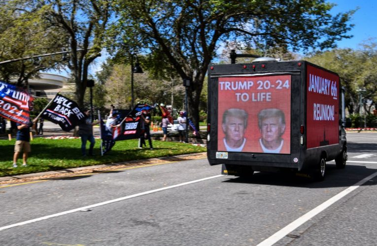 Trucks outside CPAC with 'January 6th Reunion' on them ahead of Trump speech