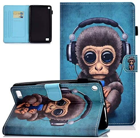 UGOcase Folio Case for Amazon Kindle Fire 7 Inch Tablet (9th/7th/5th Generation, 2019 2017 2015) - Premium PU Leather Slim Stand Multi-Angle Viewing/Card Slots Cover for Kindle Fire 7, Monkey