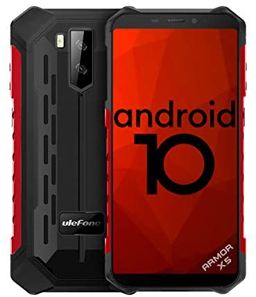 Ulefone 2020 Armor X5(Android 10 Version), 4G Rugged Mobile Phone with Octa-Core, 5.5 Inch IP68/69K Screen,5000mAh Battery, 3GB + 32GB, NFC, OTG, GPS, Bluetooth 5.0 Waterproof Outdoor Phone-Red