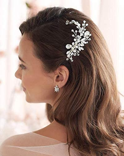Unicra Bride Wedding Hair Comb Silver Crystal Headpiece Rhinestone Hair Accessories for Women and Girls
