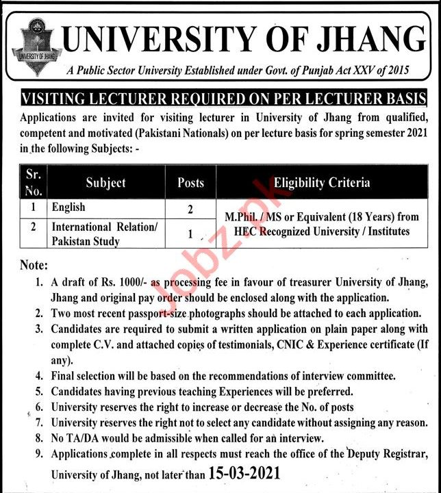 University of Jhang UOJ Jobs 2021 for Professors & Lecturers
