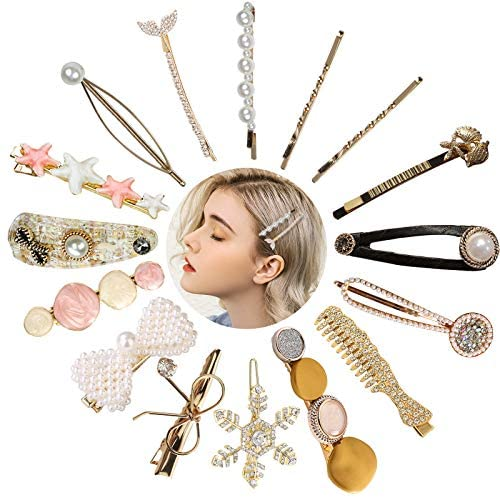 VEGCOO 16Pcs Pearl Hair Clips, Fashion Hair Barrettes Girls Hairpins Acrylic Resin Barrettes Hairpins Set for Women Ladies and Girls Headwear Styling Tools Hair Accessories (D)