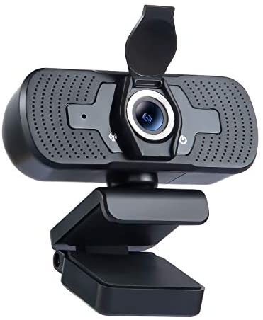 Webcam 1080P PC Camera with Microphone Webcam Privacy Cover, Desktop Laptop Mac HD Camera, Plug and Play, for Live Stream/Online Classes/Conference/Gaming, Skype/Zoom/YouTube/Facetime