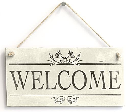 Welcome - Handmade Rustic Wooden Sign/Plaque for Entrance/Porch Home Decor