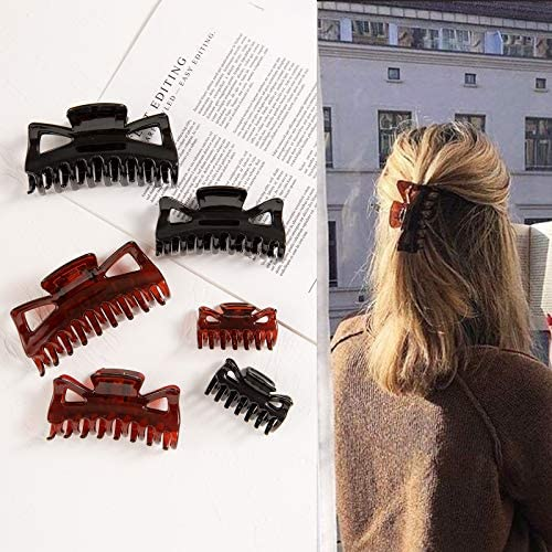 Whaline Hair Claw Clips 3 Sizes Catch Hair Clips Black Dark Brown Hair Claw 6 Pack Strong Hold Hair Jaw Clamp Non-Slip Classic Hair Styling Accessories for Women Girls Thick Thin Fine Hair