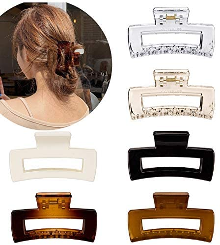 Whaline Hair Claw Clips Strong Hold Rectangle Hair Claw 6 Pack Transparent & Solid Color Hair Jaw Clamp Non-Slip Catch Hair Clips Hair Styling Accessories for Women Girls Thin Thick Hair