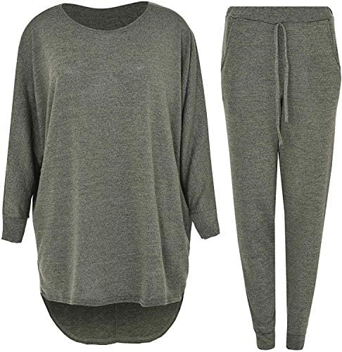 Womens 2 Piece Set High Low Top & Bottoms Casual Loungewear Sweatshirt Tracksuit