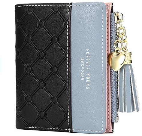 Women's Wallet Ladies Purse, JOSEKO Tassels PU Leather Multi-Slots Short Money Bag Slim Card Holder Purse for Girls with Rabbit-Shaped Metal Tassels Pendant Gift Bifold Clutch - Black
