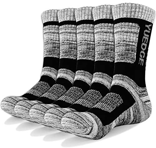 YUEDGE Men's 3/5 Pairs Athletic Socks Breathable Cushion Comfortable Casual Crew Socks Performance Multi Wicking Workout Sports Socks for Outdoor Recreation Trekking Climbing Camping Hiking