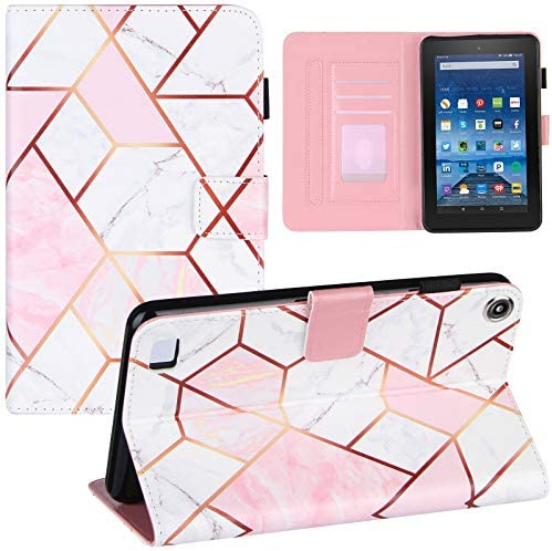 ZOOMALL Folio Case for Amazon Fire 7 (Compatible with 2019&2017&2015 Release), Premium Vegan Leather Stand with Pencil Holder Auto Wake/Sleepp, Grid Marble Pink/White
