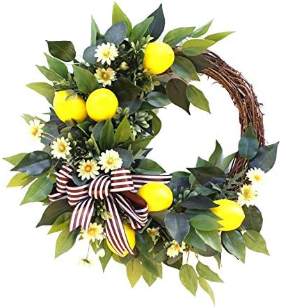 æ— 20 Inch Lemon Wreath, Spring Fruit Wreath with Artificial Lemons, Handmade Wreaths for Front Door Wall Hanging Window Home Decor