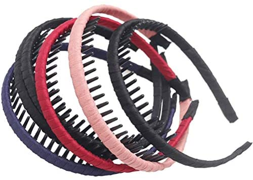 nuoshen 6 pcs Mixed Color Satin Covered Headbands Teeth Comb Hair Hoop Headwear Accessory For Girls Women