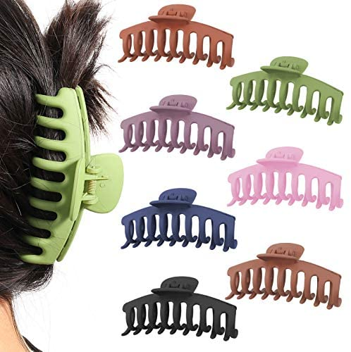 umorismo 7 Pieces Large Hair Claw Clips 4 Inch Nonslip Large Claw Clip, Big Hair Claw Clips Hair Clip Accessories for Thick Hair Women and Girls Thin Hair