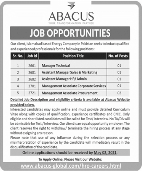Abacus Consulting Pvt Limited Jobs 2021