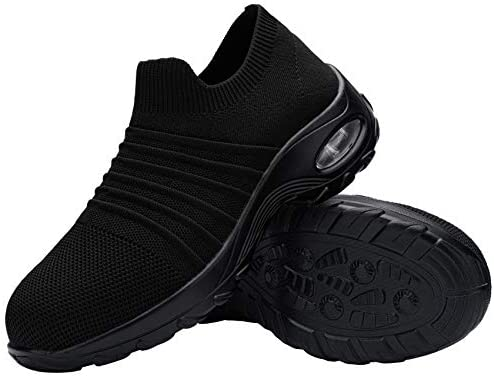 DYKHMILY Safety Shoes for Women Air Cushion Steel Toe Cap Trainers Slip on Work Shoes Lightweight Breathable Industrial Sneakers