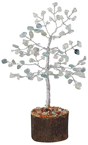 FASHIONZAADI Fluorite Crystal Tree Feng Shui Bonsai Trees Energy Healing Crystals Chakra Stone Good Luck Statue Home Decor Spiritual Handmade Gift Aura Cleansing (Silver Wire, 7-8 Inch)