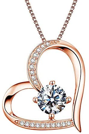 Heart Necklaces 5A Cubic Zirconia Jewellery Necklaces for Women 18k Gold Plated Silver Necklace Gifts Jewelry for Women Mum Girls