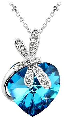 Le Premium® Dragonfly Heart Necklace with Genuine Heart Shaped Crystals from Swarovski -Bermuda Blue