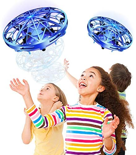 Mini Drone Flying Toy Hand Operated Drones, Hand Operated Mini Drone, Quad Induction Levitation UFO, 360° Indoor Drone, Blue, Flying Toys For Kids And Adults With 360° Rotating And Shinning LED Lights