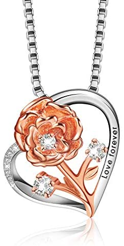 Necklace for Women Jewelry 925 Sterling Silver Pendant Flower Necklace with Gift Box,Personalised Gifts for Women Birthday Anniversary Mother's Day Gift