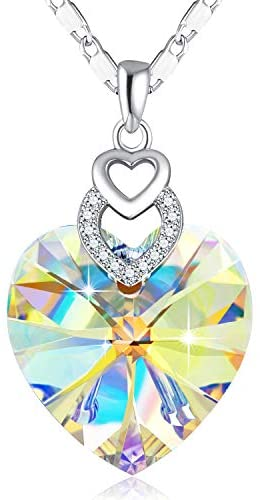 SUE'S SECRET 3 Heart Necklace Crystals from Austria for for Women Girls Pendant with Elegant Box Anniversary Jewelry Gift for her