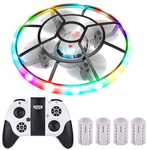 Seamuing UFO Mini Drone for Kids and Beginners, 3 Adjustable Speeds RC Quadcopter Headless Mode [Altitude Hold] with 4 Rechargeable Batteries One Key Take Off/Landing Easy Fly Drone for Beginners
