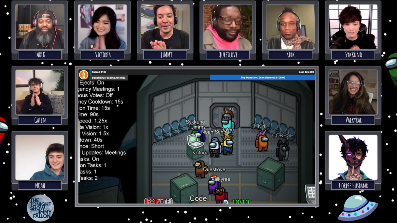 Jimmy Fallon hosted a charity stream of the popular game Among Us. Pic: Twitch/JimmyFallon