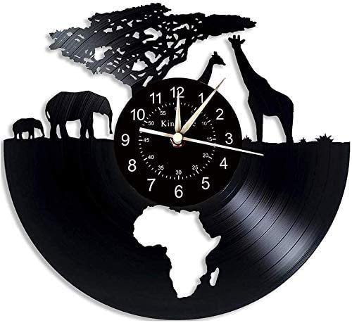 Vinyl Record wall clock, Africa - Safari animals 7 Color Night Lamp Retro Wall Clock, South African animal Gifts Handmade Home Wall Decor,B,With light, (Color : A, Size : Without light)