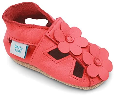 Dotty Fish Soft Leather Baby Shoes with Suede Soles. Toddler Flower Sandals. Non-Slip. 0-6 Months to 2-3 Years