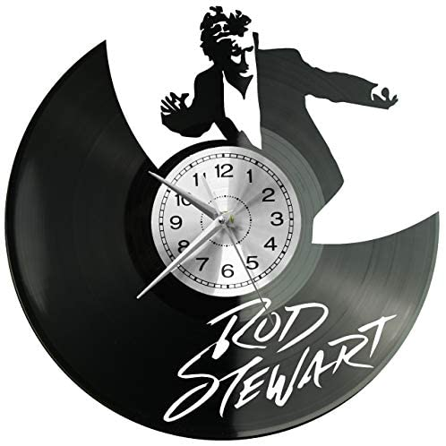 EVEVO Rod Stewart Horse Wall Clock Vinyl Record Clock Art Vintage Silhouette Record Handmade Gift Home Wall Clock Interior Decor Art Clock