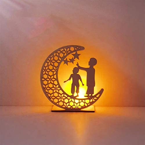 Eid Crafts Night Light Handmade 3D Wooden Moon Star LED Lights Decor Ramadan Lamp Decorations Home Party Bedroom Eid Ornaments Gift for Muslims Ramadan Gift Islamic Wall Table Decor (D)