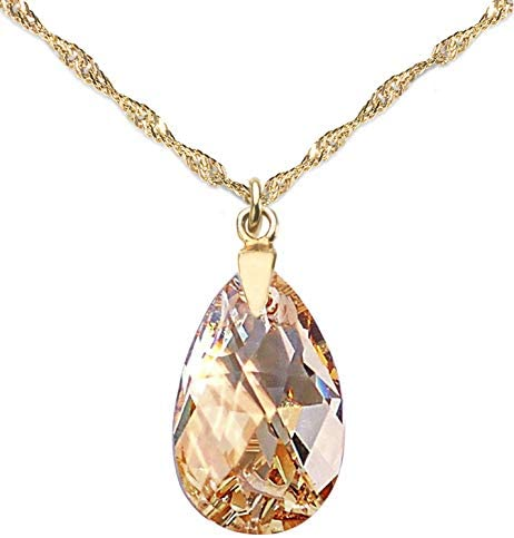 GIFT BOXED! Ah! Jewellery® Women's 16mm Golden Shadow Pear Crystal Necklace, 24k Gold Over Sterling Silver Twisted Chain Included, Stamped 925. Total Weight Of 3gr.