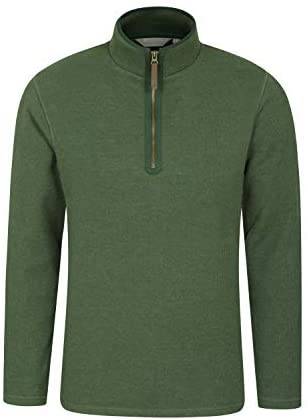Mountain Warehouse Beta Mens Zip Neck Top - Half Zip Sweater, Warm Microfleece Lining, Lightweight - Ideal for Cold Weather, Camping, Hiking