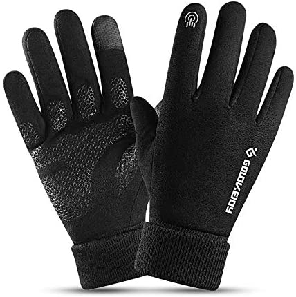 TAGVO Winter Running Gloves, Suede Windproof Thermal Anti Slip Touch Screen Gloves,Cold Weather Outdoor Sports Camping Hiking Running Cycling Biking Driving Gloves for Men Women