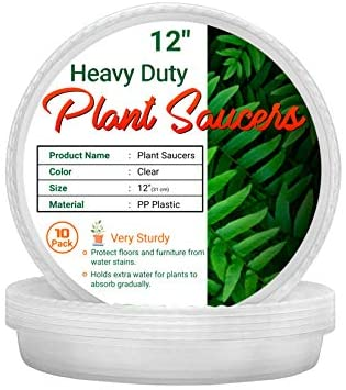 AAA Best Deal 12 inch 10 Pack Plant Saucers for Indoor and Outdoor Use, Heavy Duty Tray, Deeper Saucer to Avoid Over-Spills. Made with Thicker and More Durable Plastic for Longevity