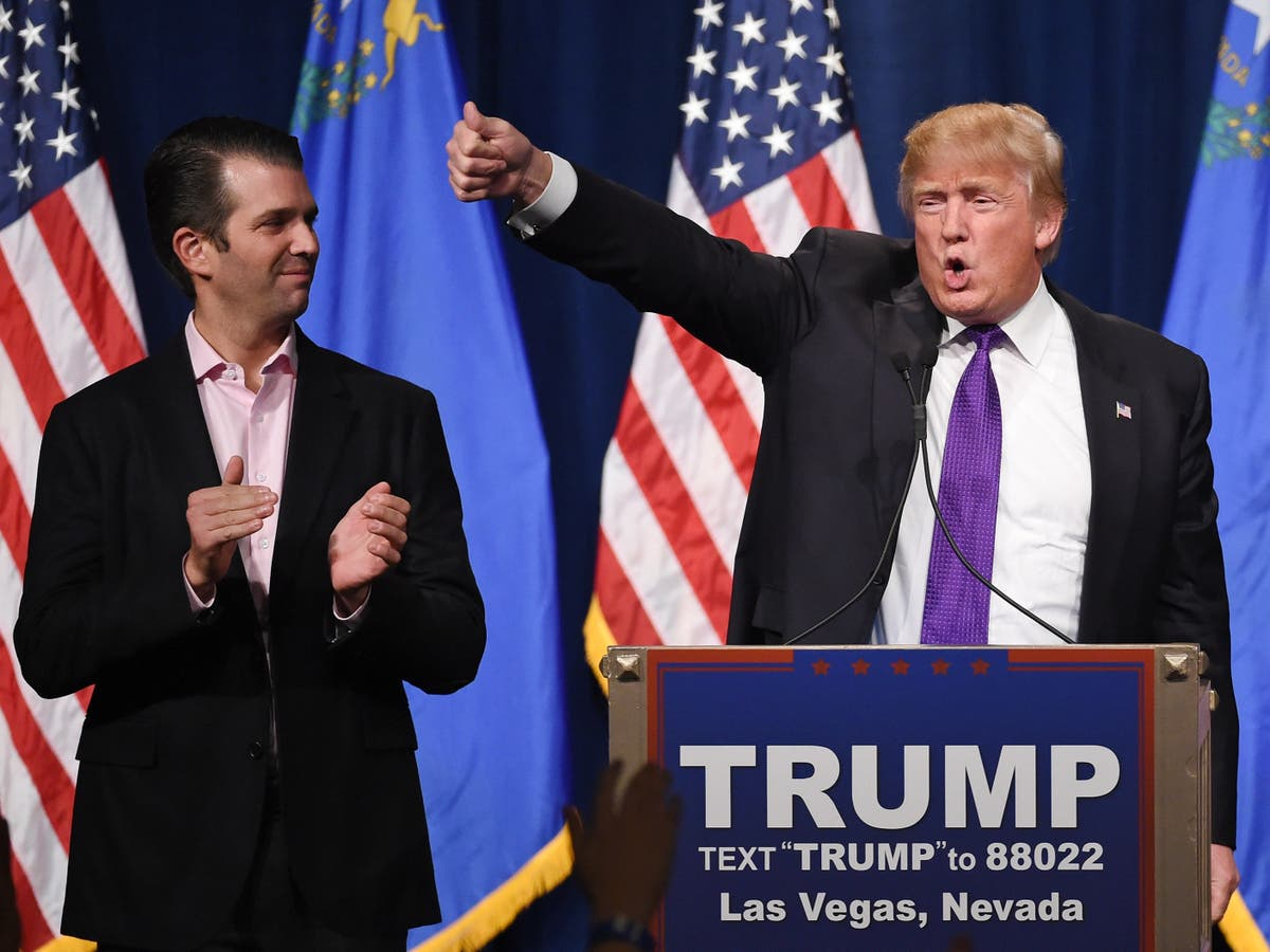Donald Trump Jr mocked for wishing his father a happy birthday – on Twitter