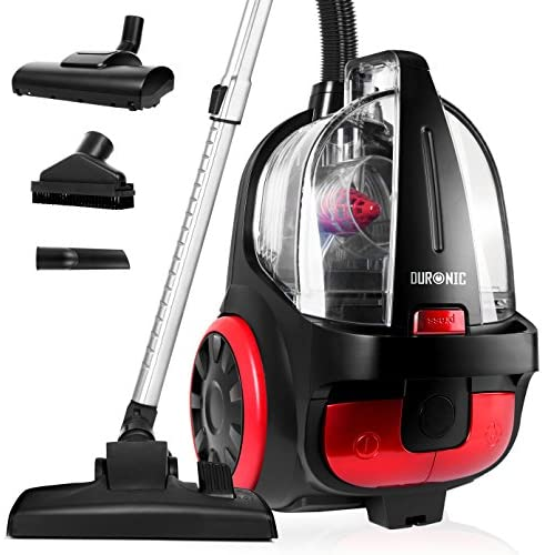 Duronic Bagless Cylinder Vacuum Cleaner VC5010 | Cyclonic Carpet and Hard Floor Cleaner | 500W | Lightweight and Low Noise | HEPA Filter | Extendable Hose | Comes with 4 Attachments [Energy Class A+]…