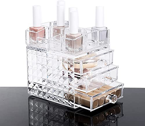 iPEGTOP Acrylic Makeup organizers, Clear Cosmetic Lipsticks Nail Polish Display Storage Case Holder, Pallet Jewelry Accessories Vanity Organizer Box with Drawers and 12 Compartments