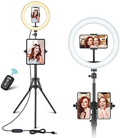10'' Selfie Ring Light with Tripod Stand & 3 Phone Holders, Vic Tech FL Dimmable Phone Ring Light with 3 Light Modes 10 Brightness & Remote Control for Makeup/Photography/YouTube Video/Vlog/Tiktok