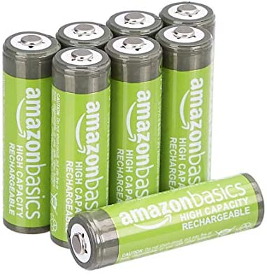 Amazon Basics AA High-Capacity Rechargeable Batteries, Pre-charged – Pack of 8 (Appearance may vary)