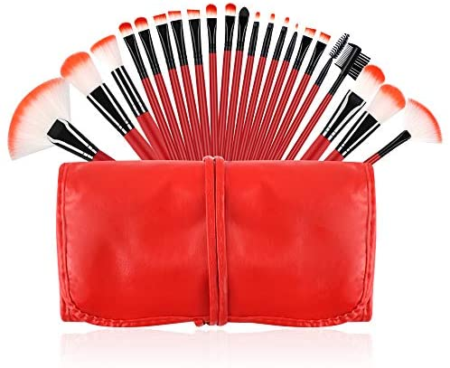 Beauty Cosmetic Makeup Brush Sets: Red 22Pcs Professional Synthetic Soft Bristle with Storage Case for Lip Face Eyelash Eyebrow by Contouring Eyeliner Blending Highlighting Concealering Blush