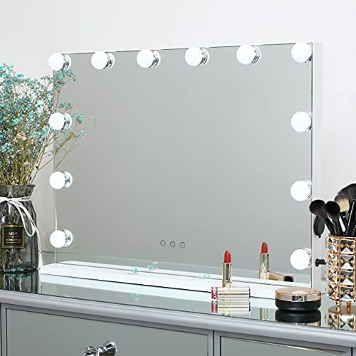 DAYU Vanity Makeup Mirror with LED Lights for Dressing Table, Large Hollywood Lighted Cosmetic with 12 Dimmable LED Bulbs for Dressing Room, Multiple Colour Modes (W22.8 x H18.1 inch) White