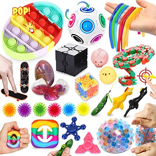 ZaxiDeel 2021 Upgraded Fidget Toys Set 30PCS, Sensory Fidget Pack Stress Ball, Fidget Toys Tool Bundle for Kids and Adults, Autism Stress Relief & Anti-Anxiety for ADD, ADHD